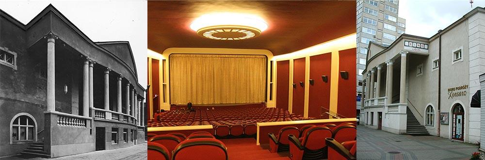 """Kino """"Apollo"""", Poznań, 1925, fot. www.audiovis.nac.gov.pl (NAC). Wnętrze sali kina """"Apollo"""" w Poznaniu, fot. Łukasz Cynalewski/AG. Kino """"Apollo"""", Poznań, fot. wikimedia.org"""
