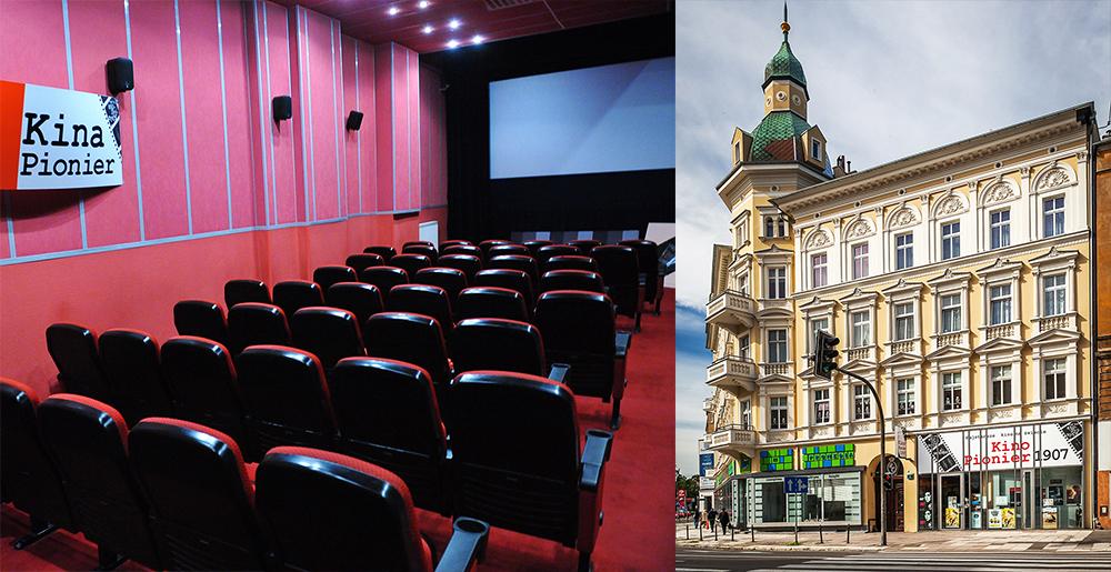 """Wnętrze sali kinowej oraz budynek Kina """"Pionier"""", fot. Marcin Bielecki/PAP, Krystyna Blatkiewicz/Reporter"""