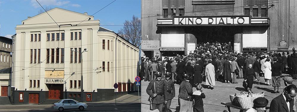 """Kino """"Rialto"""", Katowice, fot. .wikimedia.org. Widzowie oczekujący przed kinem """"Rialto"""" na projekcję filmu z uroczystości pogrzebowych marszałka Józefa Piłsudskiego, fot.www.audiovis.nac.gov.pl (NAC)"""