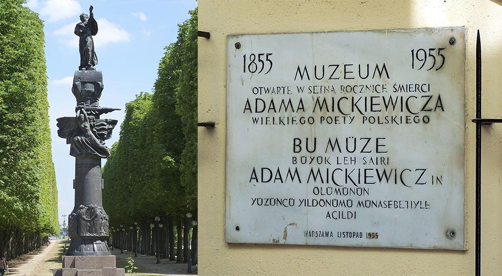 General view Monument to Mickiewicz by Antoine Bourdelle (1929), Paris and DatedPlaque at Adam Mickiewicz Müzesi in Beyoğlu, İstanbul, Turkey, photo: Darwinek/wikimedia