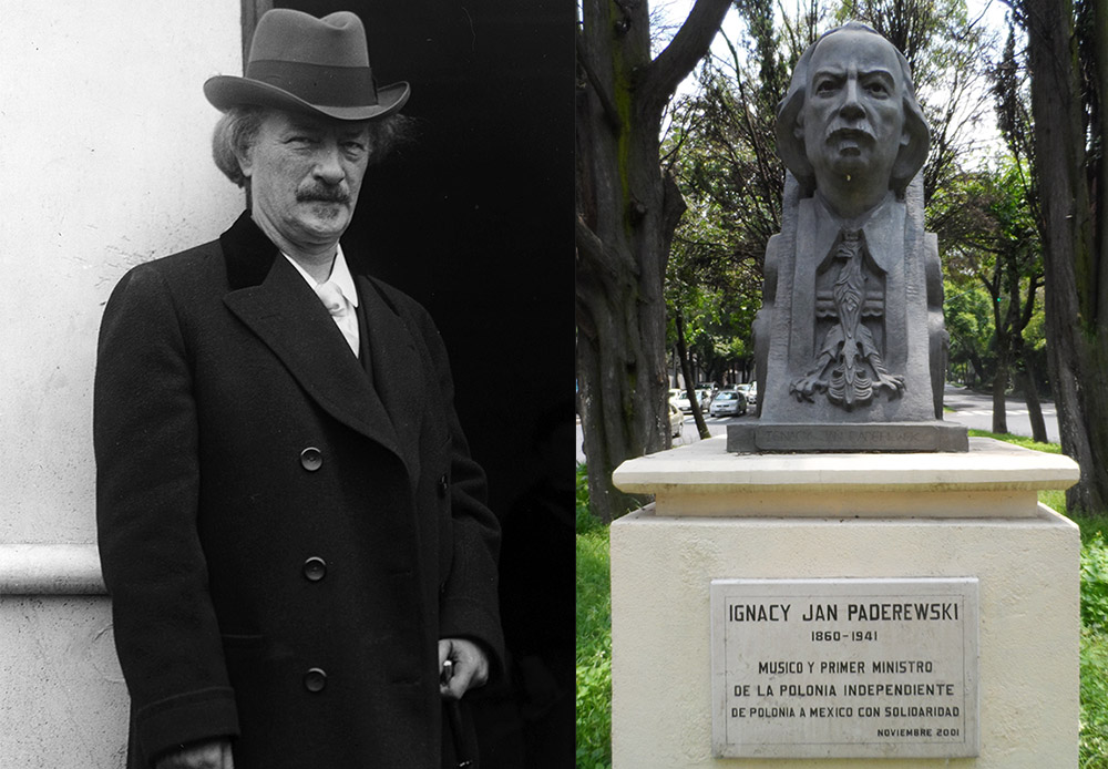 Jan Paderewski 1860, photo: Universal History Archive, Monument to Ignacy Jan Paderewski in August of 2014, located on the Paseo de la Reforma in the Federal District, Mexico, photo: Wikimedia