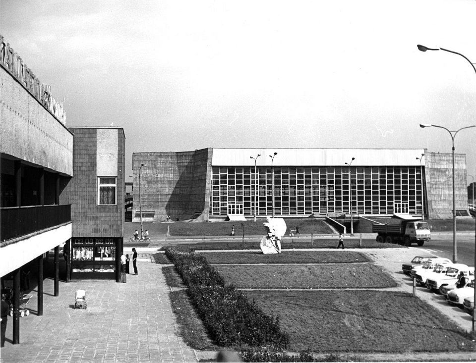 Hall of an artificial ice rink in Tychy, approx. 1978, photo: the archive of Ewa Dziekońska / materials from the exhibition Koncepcja – kreacja – konteksty (editor's translation: Concept – Creation – Context)