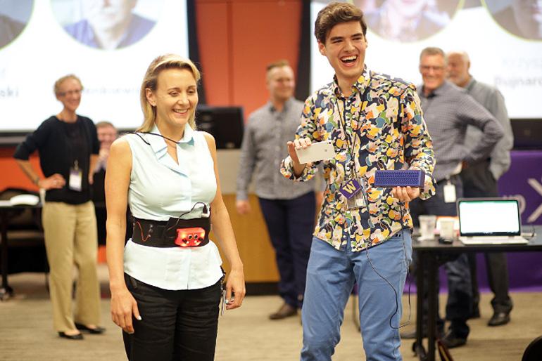 Psyllos demonstrating the MATIA at a Microsoft Student Partners event, photo: courtesy of Petros Psyllos