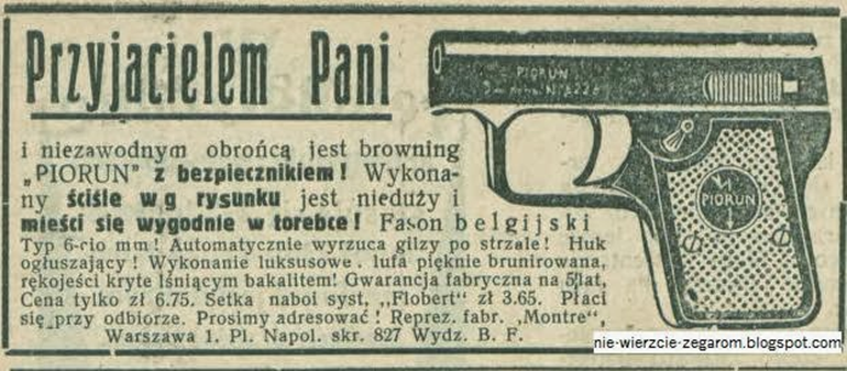 """Reklama pistoletu """"Przyjaciel Pani"""", fot. nie-wierzcie-zegarom.blogspot.com"""