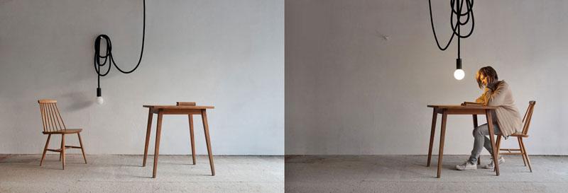 """Pani Jurek (Magda Jurek), """"Loop Line"""", lampa, z którą dzięki długiemu sznurowi można wędrować po całym domu, podwiesić pod sufitem lub na ścianie w charakterze kinkietu., fot. dzięki uprzejmości projektantki"""