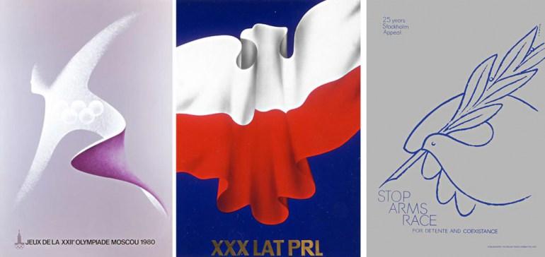 """Karol Śliwka, plakaty, """"Olimpiada w Moskwie 1980"""", 1979, """"XXX lat PRL"""", 1974 """"Stop Arms Race"""", 1974, fot. dzięki uprzejmości artysty / http://karolsliwka.pl"""