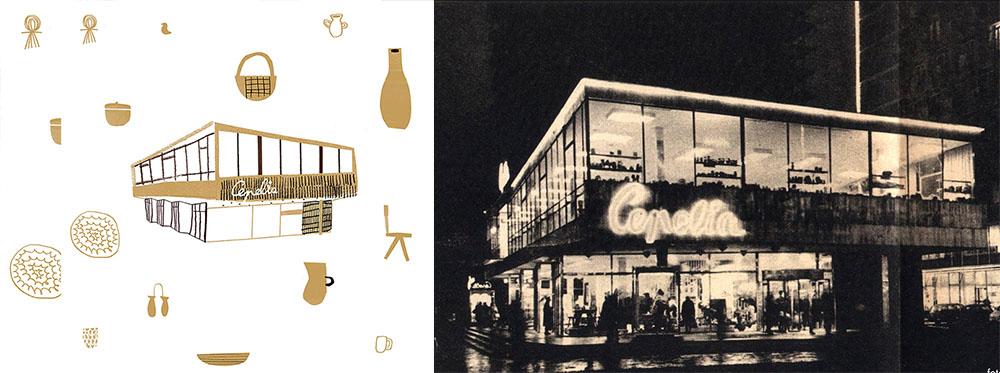 """Rysunek: Agata Królak, pawilon """"Cepelii"""" w Warszawie, projekt: Zygmunt Stępiński, 1966, fot. IAM oraz Fotopolska.eu"""
