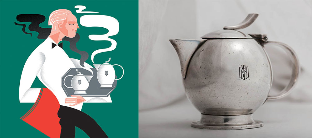 Illustration by: Katarzyna Bogucka, tea set for Gdynia – America Shipping Lines SA – GAL, design by: Julia Keilowa, manufactured in 1935 by J. Fraget Factory in Warsaw, photo: Adam Mickiewicz Institute and Michał Korta