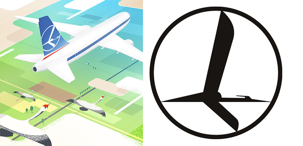 Illustration by: Maciek Blaźniak, logo of LOT Polish Airlines, design by: Tadeusz Gronowski, 1929, photo: Adam Mickiewicz Institute and LOT Polish Airlines