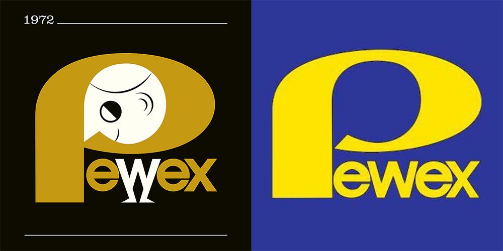 """Rysunek: Patryk Mogilnicki, logo sklepów """"Pewex"""", projekt: Elżbieta Magner, 1972, fot. IAM"""