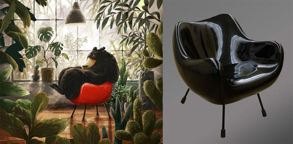 """Rysunek: Emilia Dziubak, fotel """"RM58"""", projekt: Roman Modzelewski, 1958, fot. IAM oraz Muzeum Narodowe w Warszawie"""