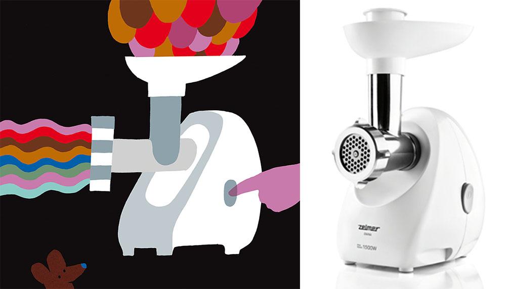 """Rysunek: Marianna Oklejak, maszynka do mięsa """"Diana"""", projekt: Marek Liskiewicz Triada Design, producent: Zelmer, 1999, fot. IAM oraz http://zelmer.com"""