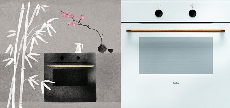 "Illustration by: Marianna Sztyma, ""Zen"" oven, design by: Code Design, manufactured by Amica, 2014, photo: IAM and manufacturer's press materials"