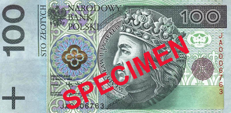 A digital specimen of the 100 zloty banknote, source: National Bank of Poland