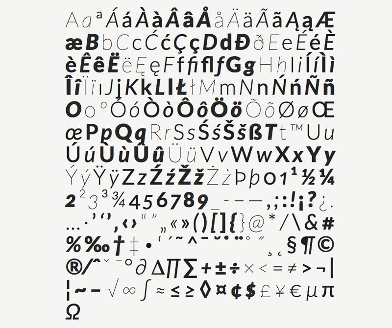 Некоторые глифы из семейства шрифтов Lato / www.latofonts.com