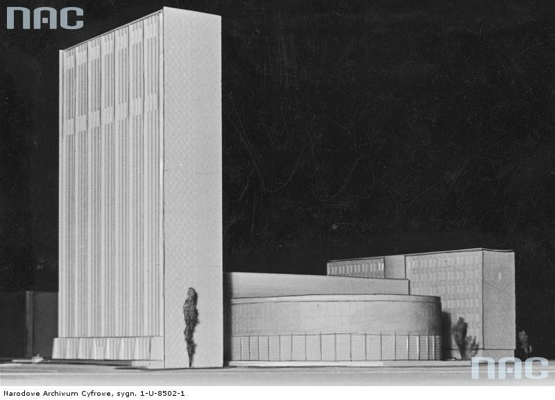 Competition model of the Polish Radio building designed by Bohdan Pniewski, image: National Digital Archives