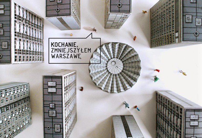 Blok Wschodni (Eastern Bloc), collection of cut-outs, designed by David Navarro and Martyna Sobecka, produced by Zupagrafika, Must Have 2014. The caption reads: 'Honey, I shrunk Warsaw,' photo: Łódź Design Festival 2014