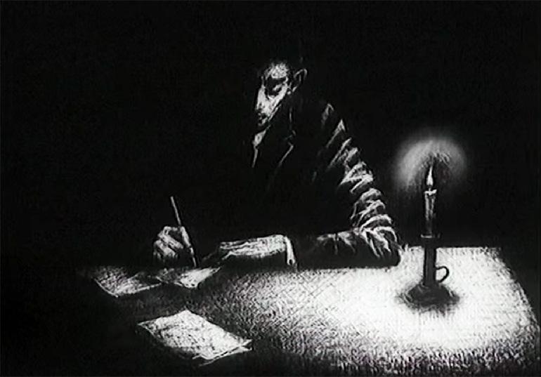 """fot. Kadr z filmu """"Franz Kafka"""" Piotra Dumały, 1991, Studio Miniatur Filmowych w Warszawie"""