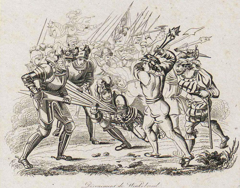"""""""Dévouement de Winkelried"""", """"Bitwa 1386 roku pod Sempach"""", fot. Biblioteka Narodowa Polona"""