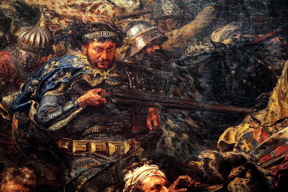 """Fragment """"Bitwy pod Grunwaldem"""" Jana Matejki przedstawiający postać Zawiszy Czarnego, fot. Forum"""