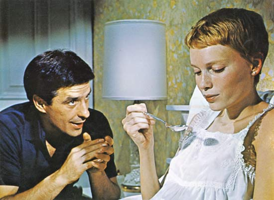 "John Cassavetes and Mia Farrow in the movie ""Rosemary's Baby"" by Roman Polański"