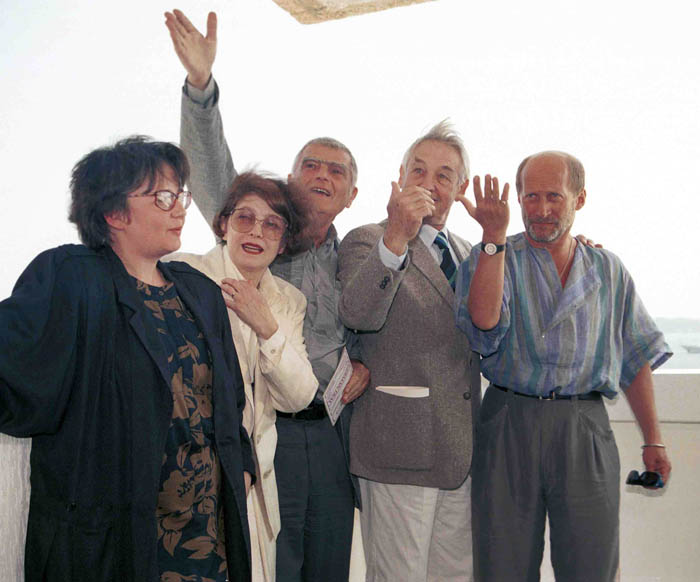 Agnieszka Holland, Andrzej Wajda, Wojciech Pszoniak, Janusz Morgenstern, Krystyna Zachwatowicz after the premiere of Korczak, Cannes Film Festival, 1990