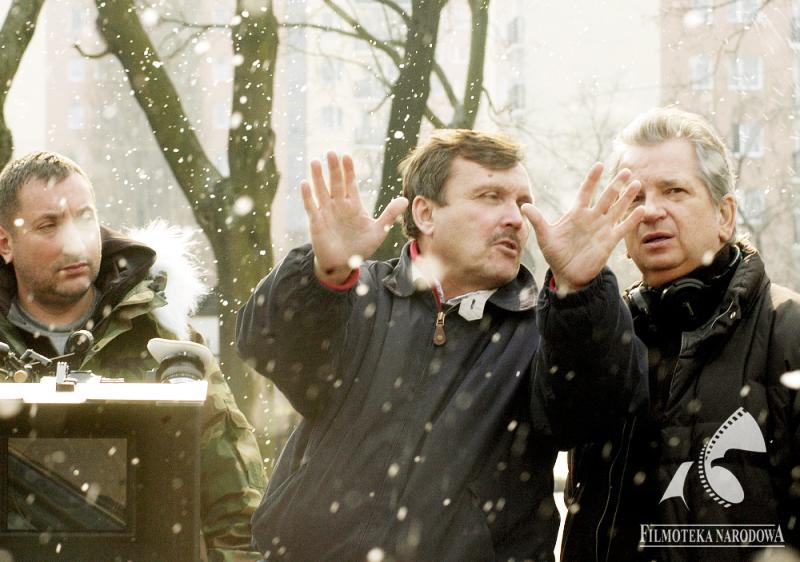 Витольд Адамек на съемочной площадке фильма Юлиуша Махульского «Сколько весит троянский конь?», 2008, фото: Рената Пайхель / Киностудия «Zebra»