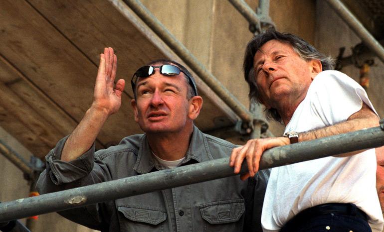 """Paweł Edelman razem z Romanem Polańskim na planie """"Pianisty"""", 2001, fot. Radosław Nawrocki / Forum"""