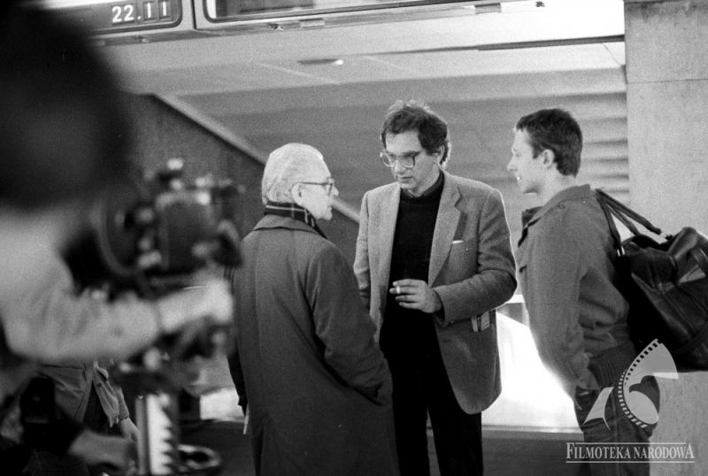On the set of  Blind Chance with Tadeusz Łomnicki and Bogusław Linda, photo: Romuald Pieńkowski/ Fototeka Filmoteki Narodowej