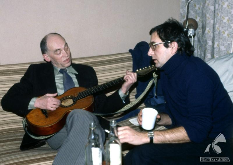 With Jerzy Nowak  on the set of Amateur, photo: Romuald Pieńkowski/ Fototeka Filmoteki Narodowej