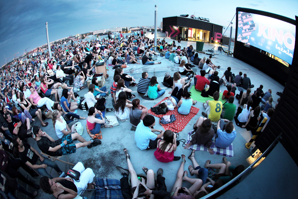Open Air Screening On The Rooftop Of Renoma A Shopping Centre In Wroclaw