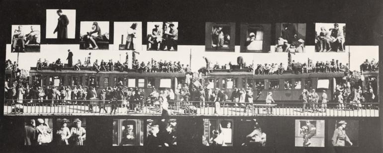"""""""Pociąg"""", fot. Jerzy Lewczyński, fotografia oryginalna 1945, kolaż 1971, dzięki uprzejmości Galerii Asymetria"""