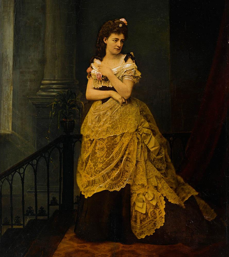 Portret aktorki Heleny Modrzejewskiej w sukni balowej z tiurniurą i koronkami, 1868. Zbiory: Muzeum Narodowe w Warszawie