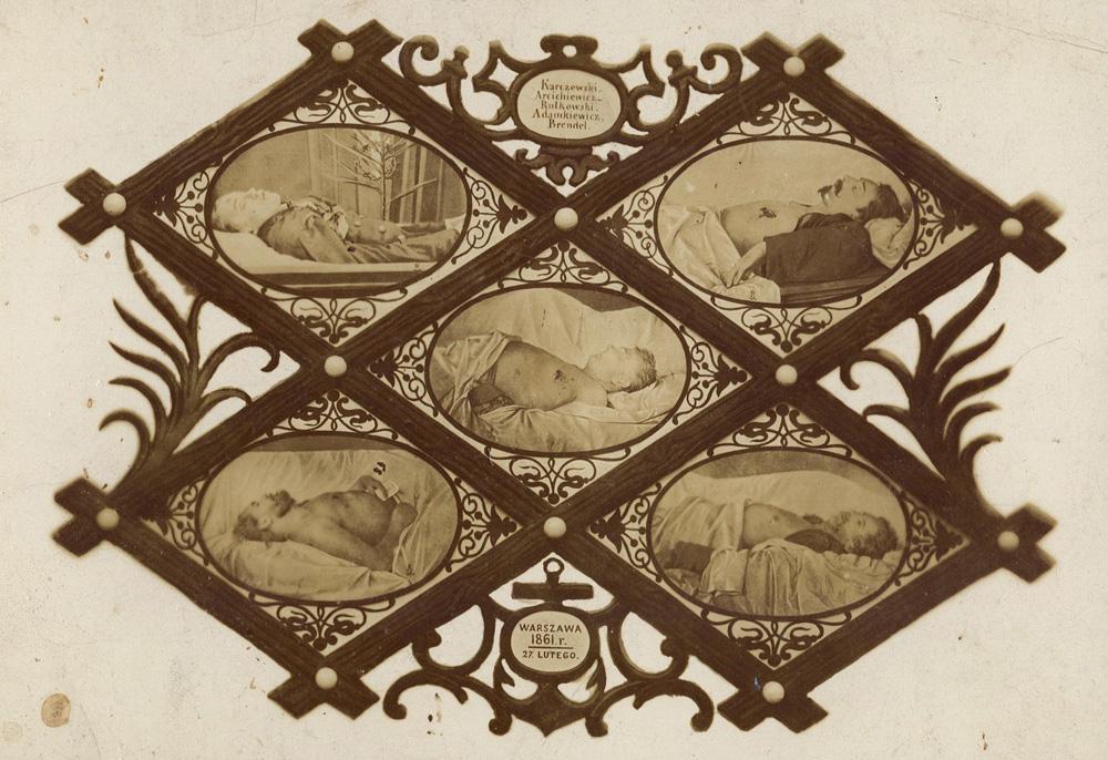"""Karol Beyer, """"Pięciu Poległych"""", portrety pośmiertne pięciu poległych podczas manifestacji patriotycznej 27 lutego 1861 r. w Warszawie, fot. Biblioteka Narodowa / CBN Polona"""