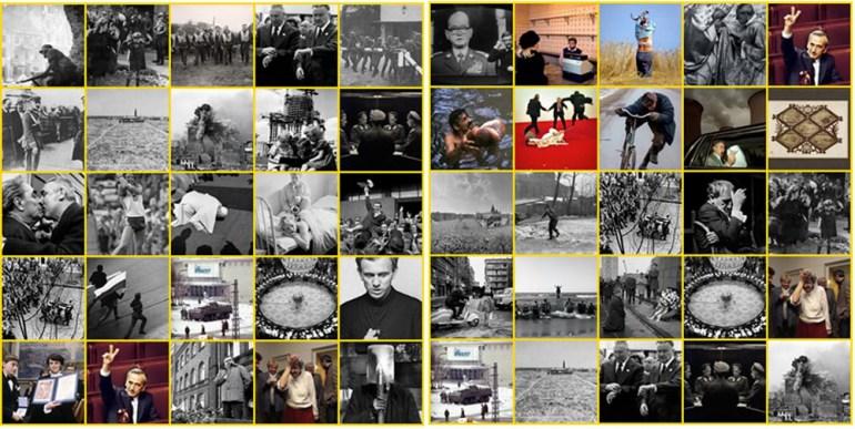 """Kompilacja ze zdjęć z wystawy """"Fotoikony w Polsce.Poszukiwanie/głosowanie"""", fot. dzięki uprzejmości DSH"""