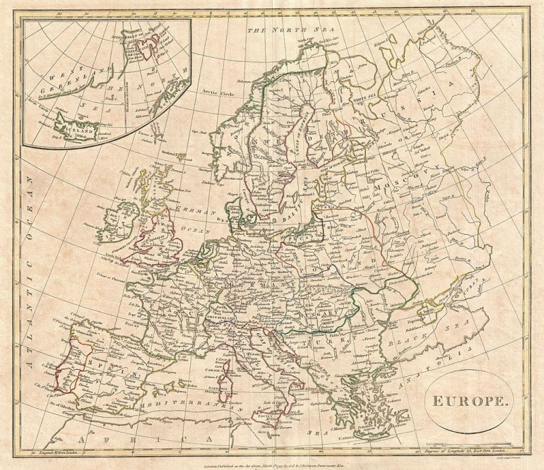 map of Europe by the English map publisher Clement Cruttwell; Source: Wikimedia Commons
