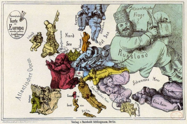 Arnold Neumann map of Europe from 1870