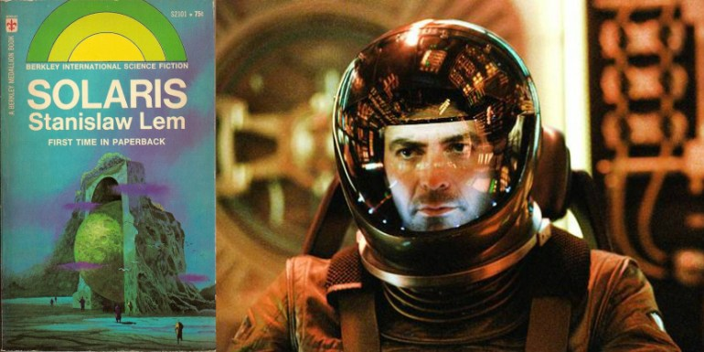 Solaris - cover for the American edition and still from Steve Soderbergh's 2002 film adaptation