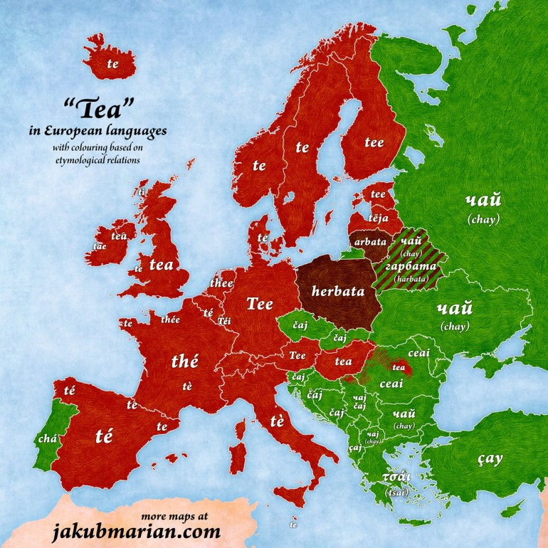 Tea in European Languages (map); Source: https://jakubmarian.com/tea-in-european-languages-map/