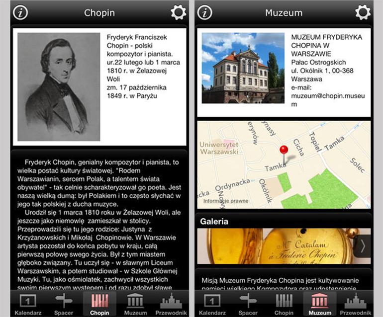 Warsaw Chopin Guide iPhone screenshots, photo: promotional materials