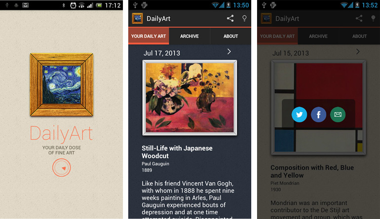 Screenshots of the DailyArt app, photo: Google Play