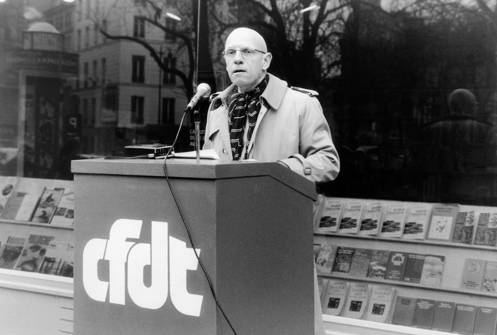 Michel Foucault during demonstration of CDFT for Poland, as a support for Solidarność, 13th of April 1981. Photo: Gerald Bloncourt / Rue des Archives / Forum