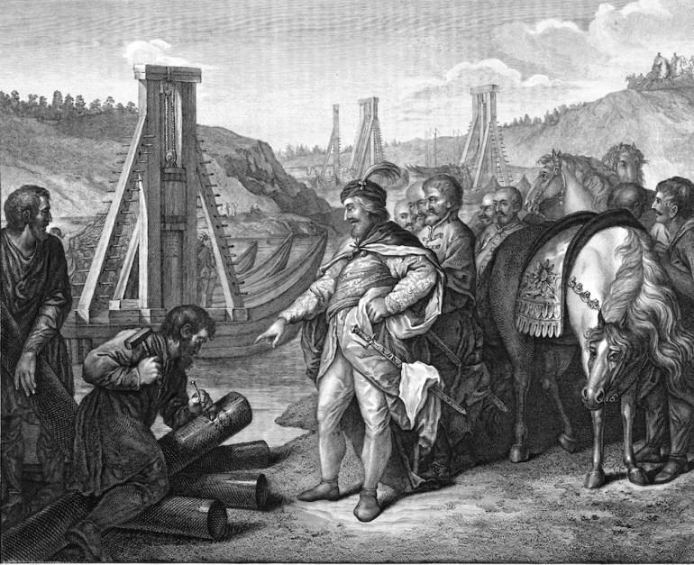 Bolesław I of Poland sticks frontier poles in Elbe and Saale, image from Album Wileńskie of Jan Kazimierz Wilczyński, photo: Polona.pl