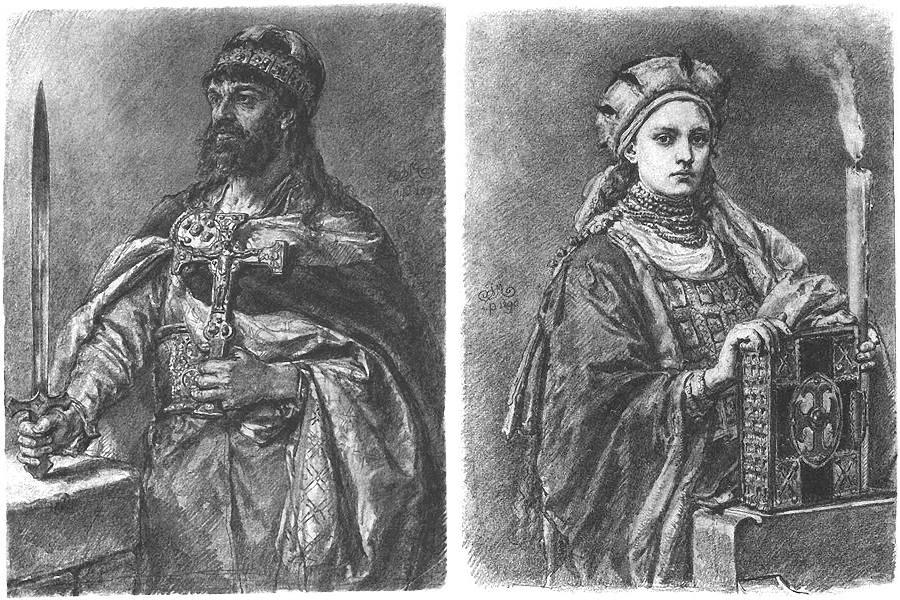 Portraiys of Mieszko and Dobrawa by Jan Matejko, photo: Wikimedia Commons