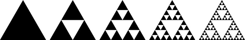 Evolution of the Sierpiński triangle in five iterations, source: Wikipedia, public domain
