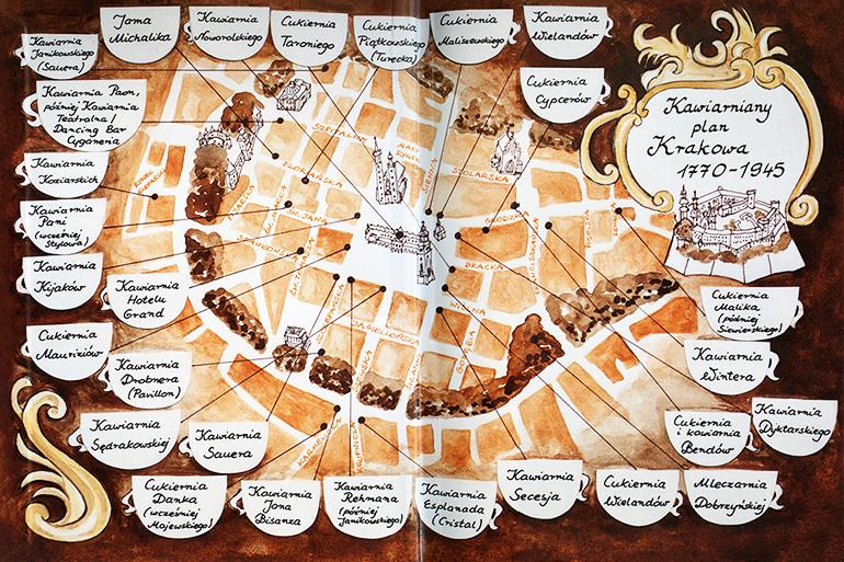 """Ilustracja z książki  Krzysztofa Jakubowskiego """"Kawa i ciastko o każdej porze. Historia krakowskich kawiarni i cukierni."""", wyd. AGORA SA"""