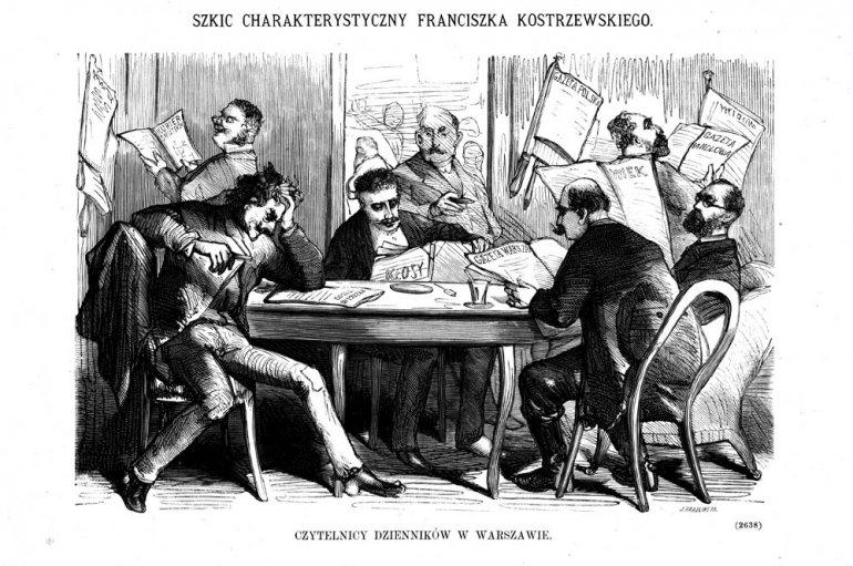 """Rysunek Franciszka Kostrzewskiego """"Czytelnicy dzienników w Warszawie"""", 1874 rok"""