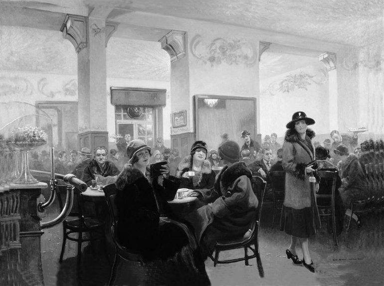 """Obraz Józefa Rapackiego """"Wnętrze kawiarni Ziemiańska w Warszawie"""", 1926 rok"""