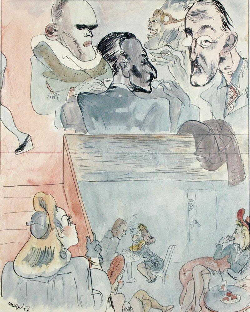 """Fragment obrazu Mai Berezowskiej """"Przy stoliku w Ziemiańskiej"""", od lewej: Jarosław Iwaszkiewicz, Julian Tuwim, Kazimierz Wierzyński i Jan Lechoń"""