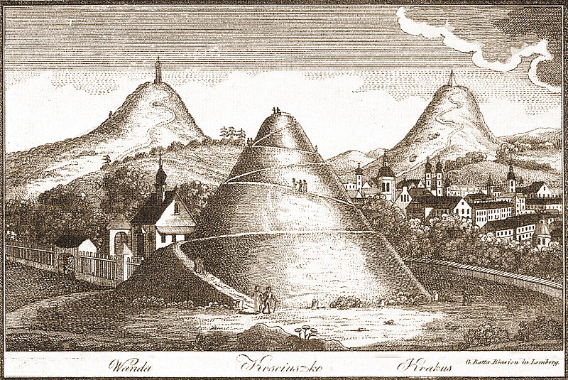 Three of four Cracovian Mounds, archive drawing by Alexandr Glässer, 1740, photo: CC / Wikimedia